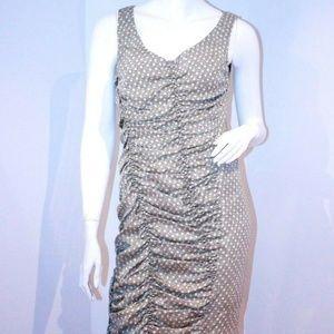 Ali Ro Green Polka Dot Versatile Ruched Dress